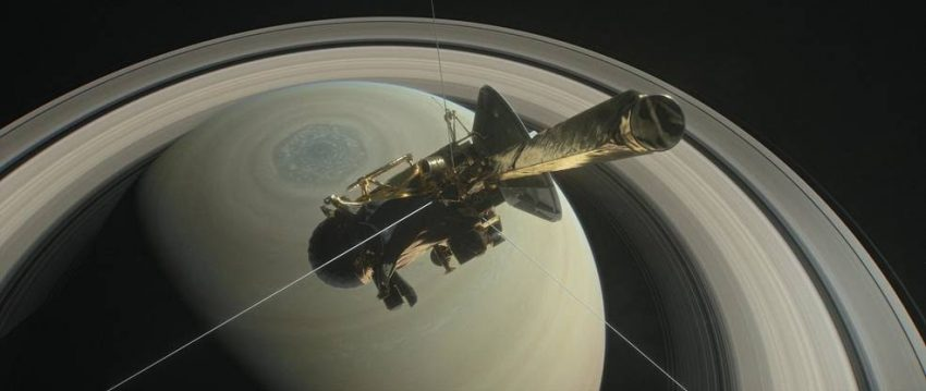 This illustration shows NASA's Cassini spacecraft heading for the gap between Saturn and its rings during one of 22 such dives of the mission's finale. The spacecraft will make a final plunge into the planet's atmosphere on Sept. 15, 2017. Credits: NASA/JPL-Caltech